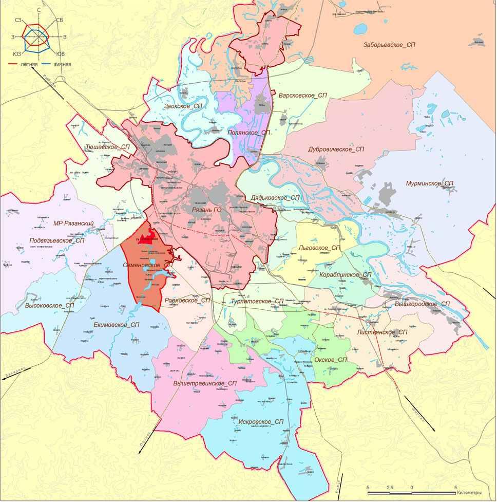 рыболовная карта рязанской области с районами и деревнями