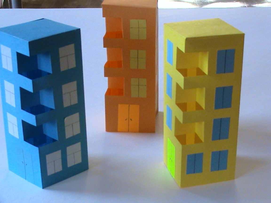 Как сделать многоэтажный дом из бумаги схемы